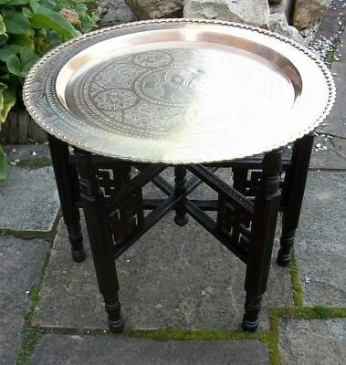 Antique Chinese Fully Carved  Folding Side Table With  Brass Tray