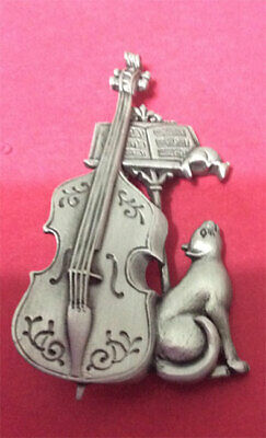 Musical Cat With Mouse And Cello Brooch Pin Jonette Original!