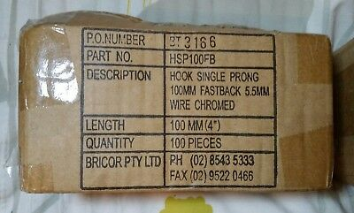 Bricor Fastback Single Prong Hooks Chrome 200 Pieces 5.5mm x 100mm - Brand New