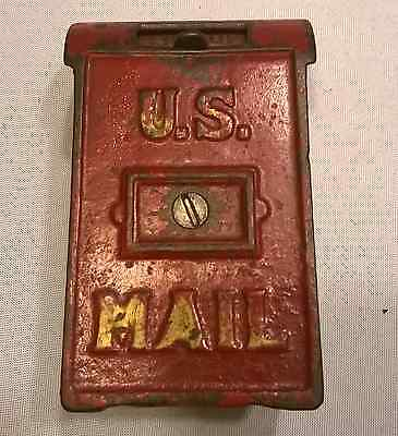 Vintage Cast Iron Red US Mail Box Bank