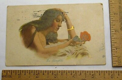 1912 postmarked - IN THOUGHTS - WOMAN with ROSE - Vintage POSTCARD - P / C