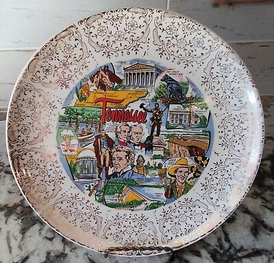 Vintage 1960's Tennessee State Collector Plate Souvenir Smokey Mtn Davy Crockett