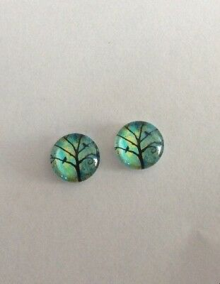 12 mm Tree With Birds Cabochons Glass Domed