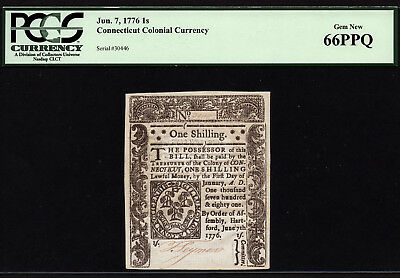 1 Shilling June 7, 1776 Connecticut Colonial Currency PCGS 66 PPQ
