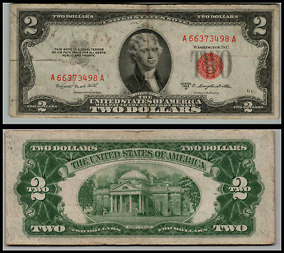 1953B $2 Dollar Bill Old Us Note Legal Tender Paper Money  Red Seal =0743