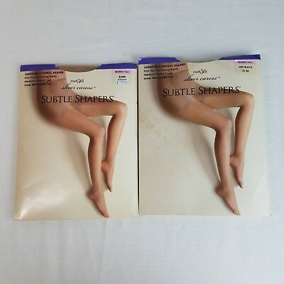 32f3e25ef5 Pair JC Penney Subtle Shapers Queen Tall Off Black and Sand Sheer Caress