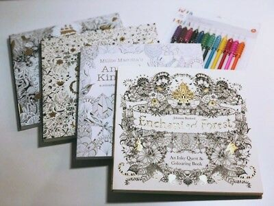 Adult colouring books by Johanna Basford & Millie Marotta - 4 pack with pencils