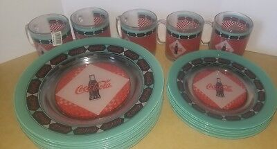RETRO COCA COLA COKE SODA ARCOROC FRANCE GLASS plates and mugs