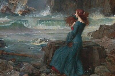 Repro Postcard: JW Waterhouse - Red-Haired Woman by Ocean, Miranda, The Tempest