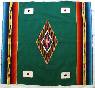 Vintage Mexican Wool Blanket Table Cover Playing Cards w Eye Dazzler Diamond