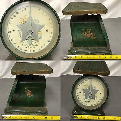 Vintage 1940s Green Baby Face Star Nursery Scale Face Photography Prop Decor