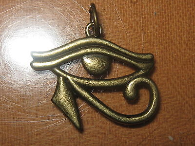 Gold Tone Egyptian Egypt Eye Of Horus Ra Pendant Charm Necklace 30Mm