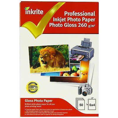 "50 Sheets of Inkrite Glossy Photo Paper 6x4"" (260gsm)"