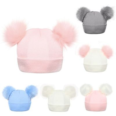 Winter Hats Knitted Baby Girls & Boys Fur Pompoms Balls Kids Knitted Wool Caps