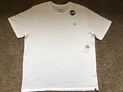 db684e58a  28 Brand New Hurley Nike Dri Fit White Mens Tee T Shirt Double Extra Large  2Xl