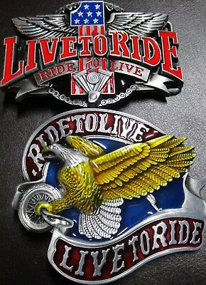 Harley Davidson 1 Live To Ride Ride to Live Pewter Finish Belt Buckle
