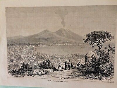 View of Naples,  drawing by Karl Girardet Napoli 1863