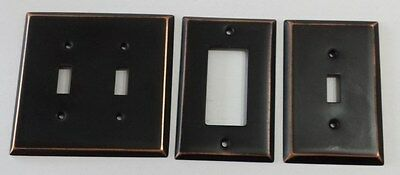 Lot of 3 Metal Light Plate Switch Plates Covers  Black with Copper Rustic Edges