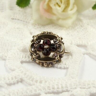 Sweet Original Antique Bohemian garnet flower brooch // ГРАНАТ