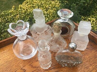 Bulk Lot 7 Pretty Perfume Bottles Silver Metal Frosted Glass Stoppers Screw Tops