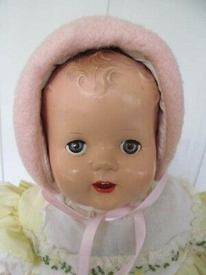 Vintage Baby / Doll Bonnet  Pink Boiled Wool with Satin Ribbon Trim and Ties