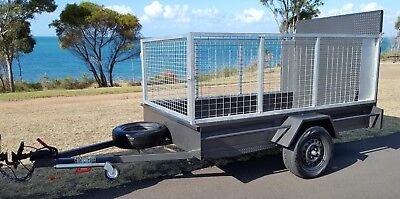 QLD Built BRAND NEW 9x5 Steel Ramp High Cage Trailer 6 Months Reg Jockey Spare H