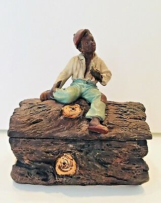 Antique Tobacco Jar Of Wonderful Young Man On A Log Holding A Turtle Jm 3351