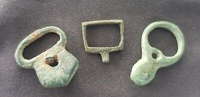 Superb trio of Medieval bronze buckles uncleaned all found in England. L118i