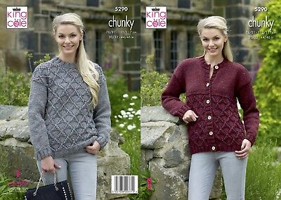 KINGCOLE 5290 Chunky KNITTING PATTERN  30-46INCH -not the finished garments