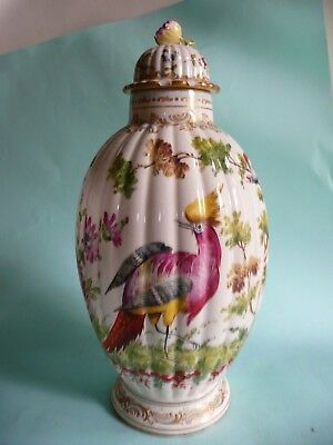 19th century Porcelain Ribbed vase with Exotic Birds..................ref.1258