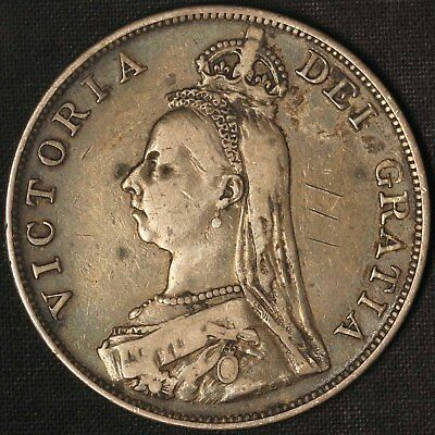 1887 Great Britain Silver Double Florin - Free Shipping USA