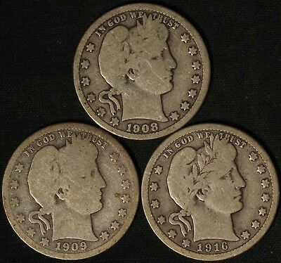1908-O, 1909-D and 1916-D Barber Quarters - Free Shipping USA