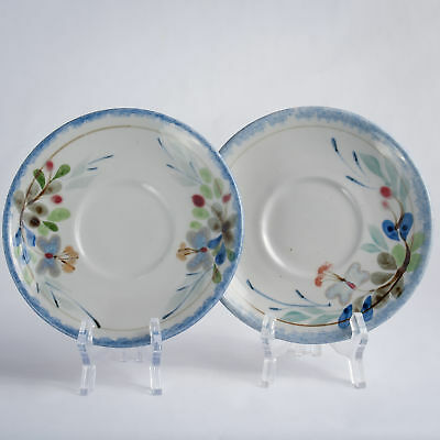"""Highland Stoneware Hand Painted 2 Large Saucers Traditional Floral 7.5"""""""