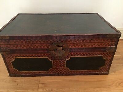 Vintage Chinese lacquered wicker trunk 80cm