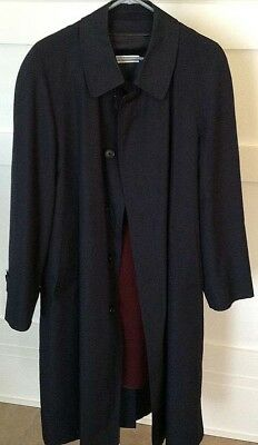 BROOKS BROTHERS Mens 40R Trench Coat Navy Blue Removable Wool Liner EUC Jacket