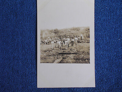 Early 1900s Panama Canal Construction-Railroad Workers Laying Track/Candid RPPC