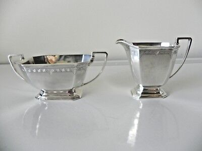Vintage Art Deco Sterling Silver Matching Creamer & Sugar Bowl Fully Hallmarked
