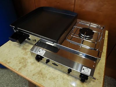 Commercial CATERING VAN LPG Gas Griddle Grill - With cooker 65x40 cm Piezo