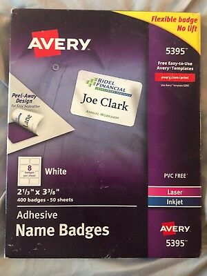 avery 5395 85395 self adhesive removable name badges brand new
