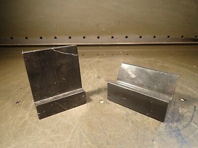 2 Piece Lot Granite Machinist Precision V-Block & Angle Plate, Marble/Onyx, Used