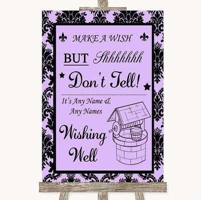 Wedding Sign Poster Print Lilac Damask Wishing Well Message