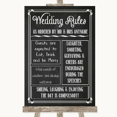 Wedding Sign Poster Print Chalk Sketch Rules Of The Wedding