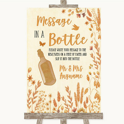 Wedding Sign Poster Print Autumn Leaves Message In A Bottle