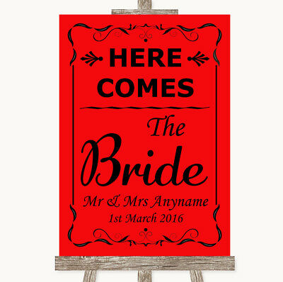Wedding Sign Poster Print Red Here Comes Bride Aisle Sign