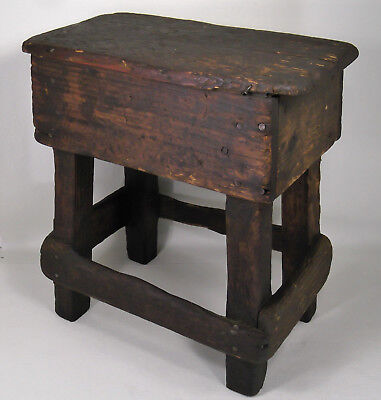 Primitive Joint Stool Dark Wood Patina Dairy Farm Country Milk Bench Plant Stand
