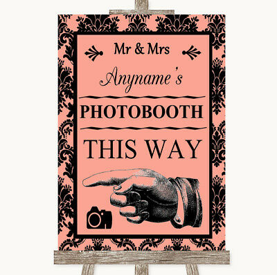 Wedding Sign Poster Print Coral Damask Photobooth This Way Left