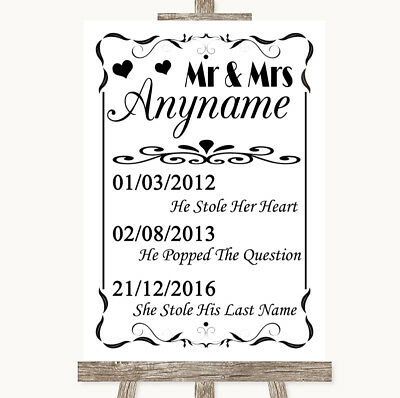 Wedding Sign Poster Print Black & White Important Special Dates