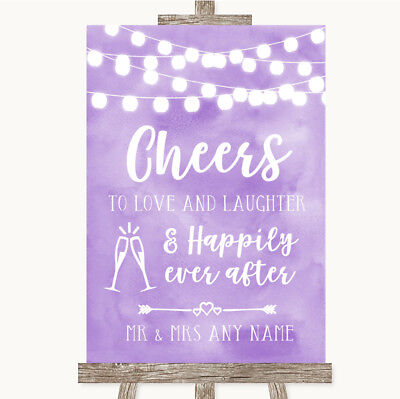Wedding Sign Poster Print Purple Watercolour Lights Cheers To Love