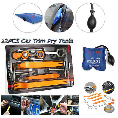 Pump wedge+12PCS Car Door Clip Panel Trim Dash Radio Audio Removal Pry Tools kit