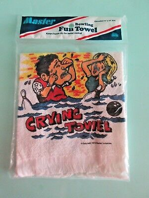 "Vintage Masters Bowling Fun Towel ""Crying Towel"" Collectable 1976 USA"